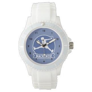 Jugador de tenis; Rayas azules y blancas, deportes Reloj