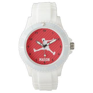 Jugador de tenis; Rayas del rojo del escarlata Reloj De Mano