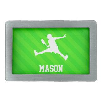 Jugador de tenis; Rayas verdes de neón Hebillas Cinturon Rectangulares