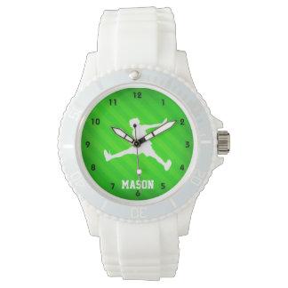 Jugador de tenis; Rayas verdes de neón Reloj