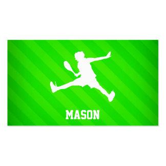 Jugador de tenis; Rayas verdes de neón Tarjetas De Visita