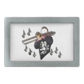 jugador de trombone del diseño de la música hebillas de cinturón rectangulares