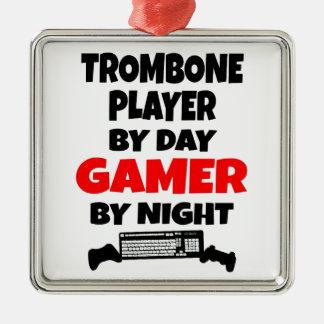 Jugador de Trombone del videojugador Adorno Navideño Cuadrado De Metal