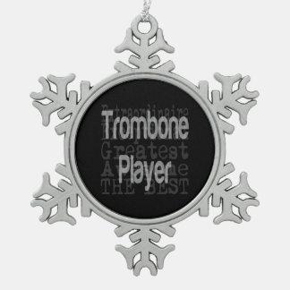 Jugador de Trombone Extraordinaire Adorno De Peltre En Forma De Copo De Nieve