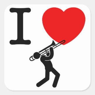 Jugador de Trombone Pegatina Cuadrada