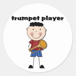 Jugador de trompeta - camisetas y regalos pegatina redonda