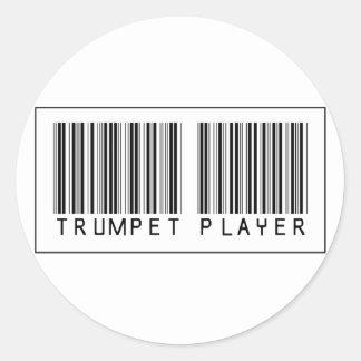 Jugador de trompeta del código de barras pegatina redonda