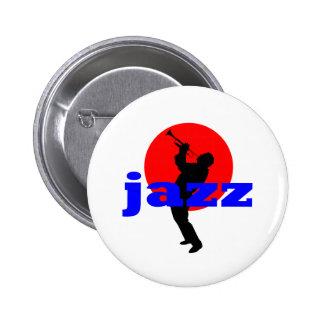 Jugador de trompeta del jazz pin redondo de 2 pulgadas