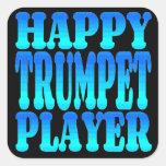 Jugador de trompeta feliz colcomanias cuadradases