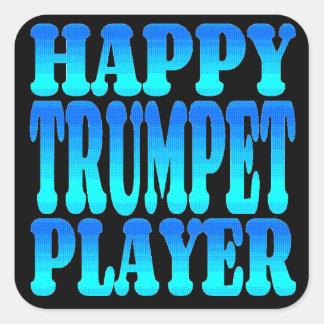 Jugador de trompeta feliz pegatina cuadrada