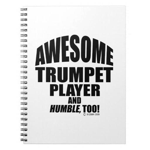 Jugador de trompeta impresionante libros de apuntes con espiral