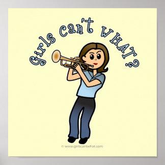 Jugador de trompeta ligero del chica impresiones