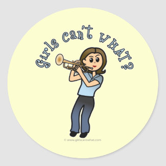 Jugador de trompeta ligero del chica pegatina redonda