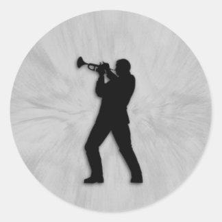 Jugador de trompeta pegatina redonda