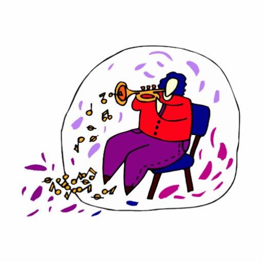 jugador de trompeta que lleva el gráfico rojo y pú escultura fotografica
