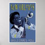 Jugador de trompeta retro del jazz de New Orleans  Impresiones