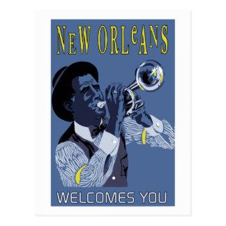 Jugador de trompeta retro del jazz de New Orleans Postales
