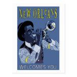 Jugador de trompeta retro del jazz de New Orleans Postal