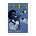 Jugador de trompeta retro del jazz de New Orleans  Tarjetas Postales