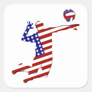 Jugador de voleibol americano colcomanias cuadradas personalizadas
