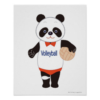 Jugador de voleibol de la panda poster
