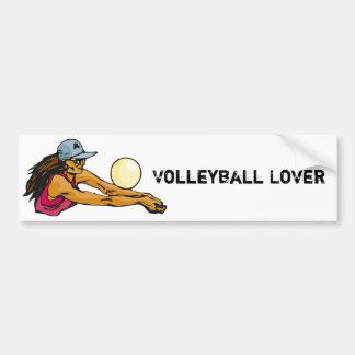 Jugador de voleibol femenino etiqueta de parachoque