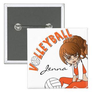 Jugador de voleibol lindo del chica en naranja pin cuadrado