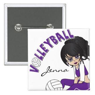 Jugador de voleibol lindo del chica en púrpura pin cuadrado
