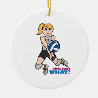 Jugador de voleibol - luz/Blonde Adorno Navideño Redondo De Cerámica
