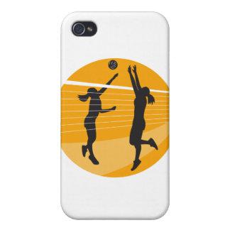 Jugador de voleibol que clava bloqueando la bola i iPhone 4 cárcasa
