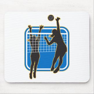 Jugador de voleibol que clava bloqueando la bola i alfombrilla de ratones