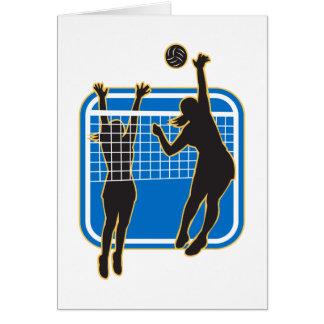 Jugador de voleibol que clava bloqueando la bola i tarjetón