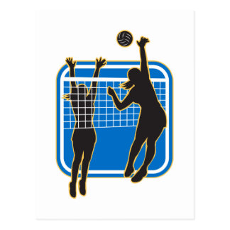 Jugador de voleibol que clava bloqueando la bola i postales