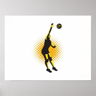 Jugador de voleibol que clava la bola retra impresiones
