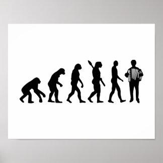 Jugador del acordeón de la evolución poster