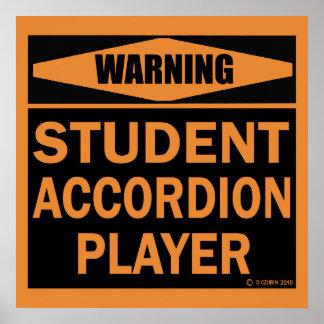 Jugador del acordeón del estudiante posters