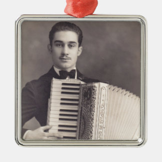 Jugador del acordeón del vintage adorno navideño cuadrado de metal