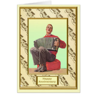 Jugador del acordeón tarjeton
