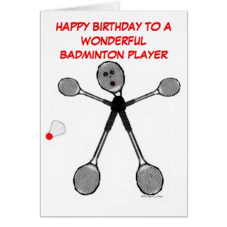 Jugador del bádminton del feliz cumpleaños tarjeton