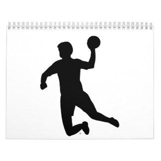 Jugador del balonmano calendario de pared