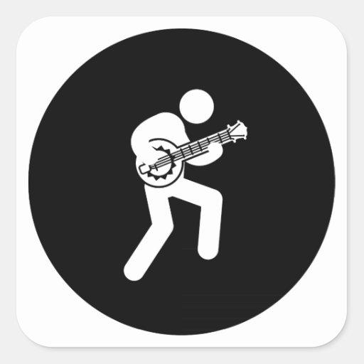 Jugador del banjo colcomanias cuadradas