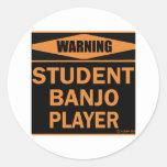 Jugador del banjo del estudiante etiquetas redondas