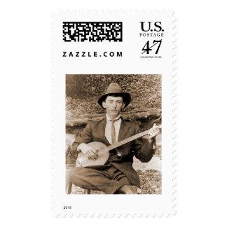Jugador del banjo sello