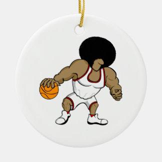 Jugador del basktball del Afro Ornamento Para Arbol De Navidad