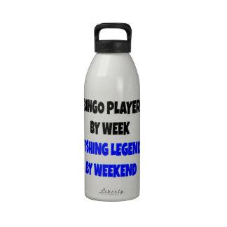 Jugador del bingo de la leyenda de la pesca botella de agua reutilizable
