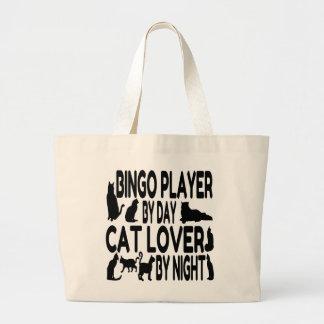 Jugador del bingo del amante del gato bolsa tela grande