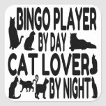 Jugador del bingo del amante del gato calcomanía cuadradas personalizadas
