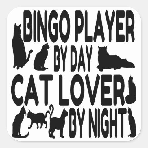 Jugador del bingo del amante del gato calcomania cuadradas personalizadas