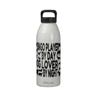Jugador del bingo del amante del perro botella de agua