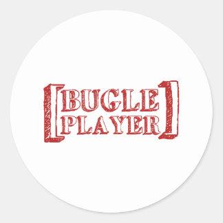 Jugador del bugle pegatina redonda